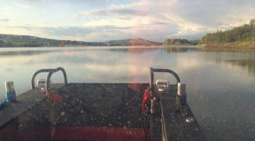 The Peace River Fire Department searches for the rest of the party in its aluminum jet boat, Town of Peace River