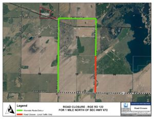 [Township]Section of Range Road 122 and Township Road 724 closes Monday